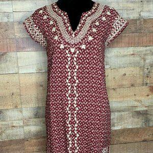 THML Boho Mini A Line Dress Maroon Ivory